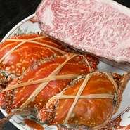 夏が旬の渡り蟹は、旨みを凝縮できる蒸し料理で頂くのがオススメ。長崎和牛も大人気の一品です。