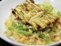 福井県越前市のご当地グルメ「ボルガライス」を中華風にアレンジ 「卵の旨味」「サクッとしたカツレツ」「ピリ辛がアクセントの炒飯」が「ソースの甘味」で一体になり、口の中で 『美味しい』 が広がります。