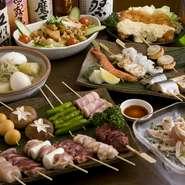 宴会コースは2500円~、+1500円で飲み放題も付けられます。様々な味を手軽に楽しめる串料理はお酒の肴にもぴったり。ついついお酒がすすむことうけあいです。大いに飲んで和気あいあいと仲間との親睦も深まります。