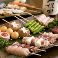 新鮮な食材を一つ一つ丁寧に串にさし、備長炭で芳ばしく焼き上げる『串盛り各種』は、バラエティ豊かに全36種類ございます。群馬県産の牛、豚、鶏肉の他、海鮮ものや新鮮な野菜の旨みを存分にお楽しみください。