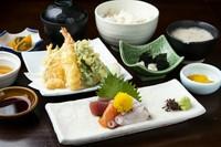 漬けマグロの山かけ丼・小鉢・赤出汁・香の物