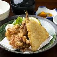 鮮魚のお刺身/天ぷら盛り合わせ/焼き魚/小鉢/ご飯/赤出汁/香の物 /デザート