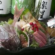 鯛の姿造りに、マグロ、赤貝、つぶ貝、ボタン海老、秋刀魚など、「今日はめでたい!」という日にはぜひ。