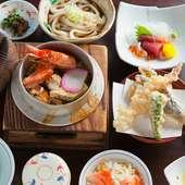 赤海老、ホタテ、カニ、うなぎがたっぷり楽しめる『釜めし御膳』