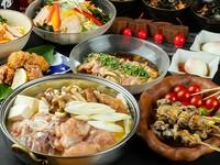 濃厚白濁鍋、2種の焼き鳥、人気の香鶏の唐揚げなど全8品。希少な日本酒や焼酎もOKのプレミアム飲み放題付!