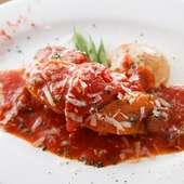 岩手県清流鶏とパプリカのローマ風トマト煮込み