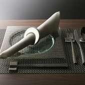 ギリシャGlassStudio社製のハンドメイド食器で統一しています。
