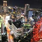 大阪の夜景を一望できる店内