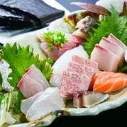 鯛、ヤリイカなどの旬の味を、有明海苔と共に。海苔産地ならではの珍しい食べ方が味わえるメニューです。