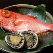 その日に地元の港で水揚げされた新鮮な魚介をはじめ、四季折々の旬の食材を厳選して料理に使用。コース料理だけでなく、一品料理としてもご提供しています。