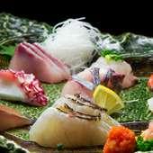 鐘崎の漁師さんから仕入れる鮮魚を使用『鮮魚刺身盛り合わせ』