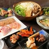 比内地鶏の逸品料理を堪能できるお腹も満足なコースです。当店イチオシです!