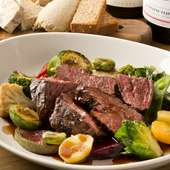 付け合せに季節野菜たっぷりなのもうれしい『牛ハラミのグリエ』
