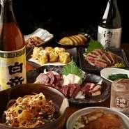 地元に帰る人や上京してきた人を囲む宴に、故郷の味が華を添えれば思い出に残る時間が過ごせる事請け合いです。九州料理を満喫できる『宴会コース』には馬刺しも含まれ人気料理の数々が味わえるのが嬉しいところ。