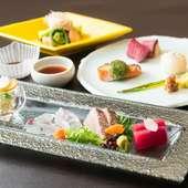 四季折々の旬の食材を使った、色彩豊かで見た目も美しい会席料理