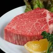 ブロックで提供する『特選ヒレ』は和牛ヒレ肉の最高級品です