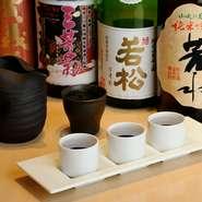徳島の地酒が豊富に用意されています。利き酒セットは好みの日本酒を3種類選んで飲み比べができます。その日の気分とお料理で新しい味に挑戦してはいかがでしょうか。少しづつ色々な味を試したい方におすすめです。