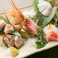 定番のお魚から玄界灘の珍しいお魚まで、通常で8種~10種くらいをたっぷりと盛りつける豪快なお造りです。