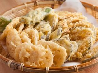 新鮮な野菜ならではの、素材本来の味が楽しめる『天ぷら』