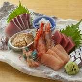 旬の鮮魚を心ゆくまで味わえる『刺し盛り(2人前)』