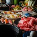 富山湾寿司と松阪牛の『鍋』を堪能できる宴会コース。歓送迎、同窓会、お食事会など様々なシーンで◎