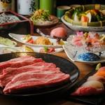 富山湾寿司と松阪牛の『網焼き』を堪能できる宴会コース。歓送迎、同窓会、お食事会など様々なシーンで◎