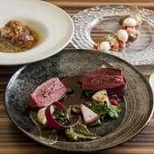 季節の食材で彩られるコース料理の数々