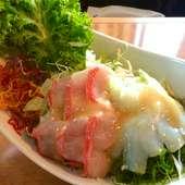 三浦半島の地野菜と伊豆半島直送の魚介をふんだんに使った料理