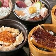 【湘幕水産】自慢のサービスのひとつは、海鮮丼の具材をお好みでセレクトできること。1種盛りから2種盛り、3種盛りと、お好みで自由にお選びいただけます。自分だけの取っておきの1品をご注文ください!