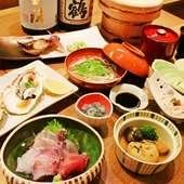 瀬戸内で採れたお魚や地元・香川産のお野菜のお料理と、羽釜ご飯が味わえる『季節のおまかせコース』