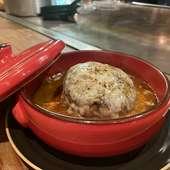 付け合わせの野菜は鉄板の上でフランベ! 『A5黒毛和牛イチボステーキ』