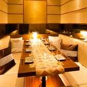 完全個室は、2名様から60名様まで収容できる個室があります