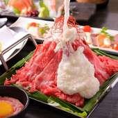 豪華!旬鮮魚と肉の出会い刺し5点盛りと黒・赤マグロバサラ、短角牛の選べる鍋の宴会プラン!