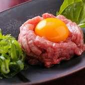 鮮度抜群。お肉の食感を存分に堪能できる『上ユッケ』