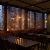 宵の風情と駅前情緒。勝田駅前が望める二階席