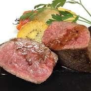 鹿児島産黒毛和牛を使ったオススメの一皿です。