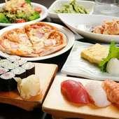 和洋折衷、お造り又はお寿司を選べる人気メニューを揃えた『おもてなしセット』