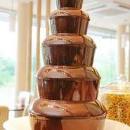 デザートの目玉『チョコレートファウンテン』は、お子様に大人気