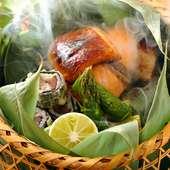 香りづけの演出も楽しみのひとつ。焼き物『時鮭の西京焼き しゃこの梅香り揚げ グリーンアスパラ』