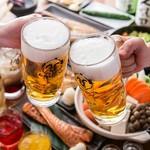 お刺身4点盛り&天然ブリカマの炙り1人1個付で〆は鮭とイクラ親子飯全9品飲み放題付4,500円コース