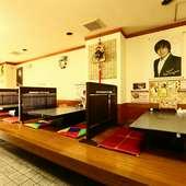 ファミリーの食事や大人数の宴会に、人数に応じて使える座敷席
