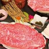 サシが入った甘みの強い近江牛を陶板で焼く『ステーキコース』