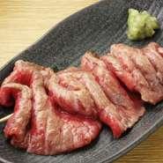 国産牛肉のランイチ部を炭火で仕上げた一品。