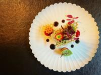 フォアグラテリーヌと山形県産のサクランボを組み合わせた一皿。サクランボのやわらかい酸味とフォアグラが舌の上でとろける逸品です。(テリーヌは期間限定)