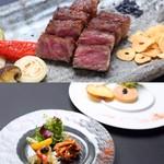 山形県、米沢牛公社より直送した良質な米沢牛と新鮮な魚介を使用したステーキコースです。