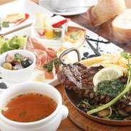 メインは6種類から選べ、前菜とスープのついたお得なコース。その時の仕入れに合わせて前菜やスープは変わります。