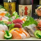宴会を盛り上げてくれる、新鮮な魚介類を使った料理の数々