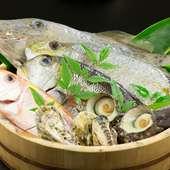 毎朝市場で仕入れる新鮮な魚介は、料理長の目利きで厳選