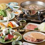 ・小鉢 ・先付け5種 ・揚物 ・季節の焼野菜 ・水炊き ・美豚ロースしゃぶ ・めん又おじや ・デザート
