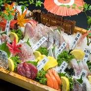 地元でとれたばかりの新鮮な魚を毎日仕入れ、料理人がそれからさらに厳選したものを7~8種盛り合わせているそうです。ネームプレートがついているので、魚の種類が一目でわかります。質量ともに大満足。
